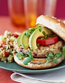 Veggie Flax Burger with Avocado and Tomato and a Side of Tabbouleh
