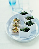 Kale Nori Salad and Scallop Ceviche on a Platter