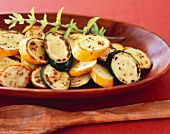 Grilled Zucchini and Summer Squash in a Wooden Serving Bowl