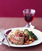Herb Roasted Beef Tenderloin; Sliced with Veggies and Mashed Potatoes