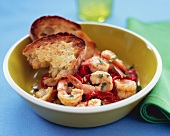 Bowl of Shrimp and Piquillo Peppers with Bread