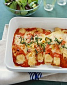 Baked Manicotti in Baking Dish