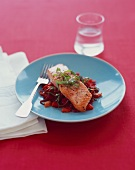 Salmon Fillet on a Bed of Red Peppers