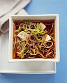 Tofu and Soba Noodle Soup; In a Bowl; From Above