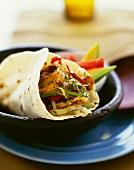 Veggie Wrap with Avocado and Tomato Side Salad