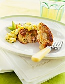 Crab Cakes with a Tropical Fruit Salsa; Fork