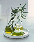 Oils in Carafes with an Olive Branch
