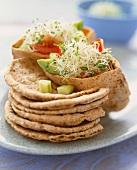 Veggie Pita Pockets with Avocado, Tomato and Broccoli Sprouts; Stacked Pita Bread