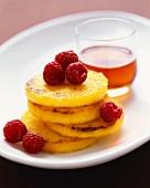 Stacked Polenta Pancakes with Raspberries