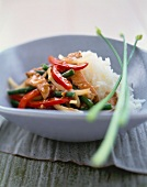 Chicken and Veggie Stir Fry Served with White Rice in a Bowl