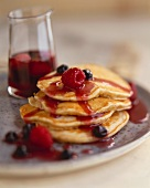 Stack of Multi-Grain Pancakes with Fresh Berry Sauce