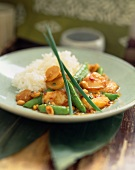 Kung Pao Scallops Served with Snap Peas and Rice