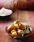 Lemon chicken with chives and rice