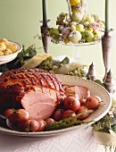 Glazed ham with potatoes for Christmas