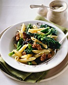 Penne alla pugliese (pasta with sausages and rapini, Italy)