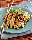 Grilled chicken strips with peanuts, pepper and noodles (Asia)