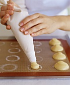 Making Cream Puffs with a Pastry Bag