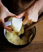 Slicing Peeled Apples