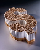 Cigarettes in the Shape of a Dollar Sign; Symbolic for the Cost of Smoking
