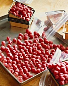 Freezing Fresh Raspberries; Frozen Raspberries on a Sheet Pan; Fresh Raspberries; Resealable Bags
