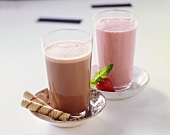 Chocolate Shake with a Pirouette Cookie; Strawberry Shake with a Fresh Strawberry