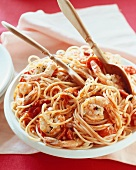 Spaghetti di Cirò (spaghetti with tomato and prawn sauce)