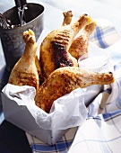 Grilled Chicken Legs with Thighs in a Parchment Lined Tin