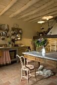 Rustikale Küche mit Essplatz und Hund auf Mediterraner Terrakottaboden