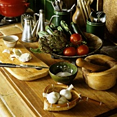 Food being prepared - vegetables on a chopping board