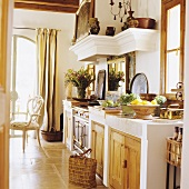 A Mediterranean house with a stone kitchen counter