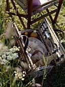 Ein geöffneter Picknickkorb im Gras