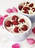 Raspberry cream with white chocolate