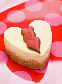 Small quark cake with red hearts