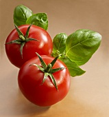Two tomatoes with basil leaves