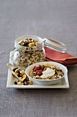 Muesli with dried fruit and redcurrants