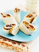 Tortilla rolls filled with peanut butter and jam