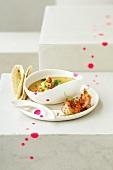 Cold sweet potato soup with prawns