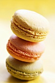 Pastel-coloured macarons (small French cakes), stacked