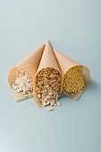 Rice, rolled oats and millet in paper cones