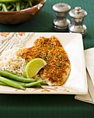 Flounder with chilli crust, beans and rice