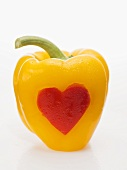 Yellow pepper with red heart