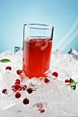 A glass of cranberry juice on ice