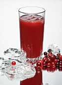 A glass of cranberry juice, fresh cranberries and ice cubes