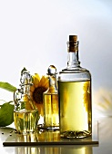 Sunflower oil in three different bottles