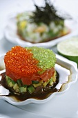 Flying fish caviar with avocado (Asia)