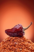 A dried chilli pepper on a pile of chilli flakes