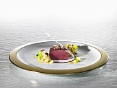Saddle of venison with roasted argan oil (molecular gastronomy)