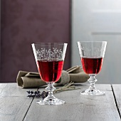 Two French red wine glasses