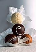 Various chocolate truffle pralines