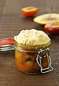 Scheiterhaufen (bread bake usually made with apples, cinnamon, raisins and almonds) in a jar with mango and nectarines